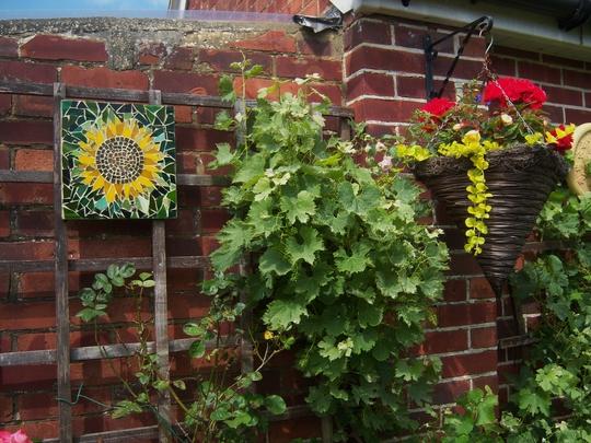 Sunflower Mosaic Grapevine and basket