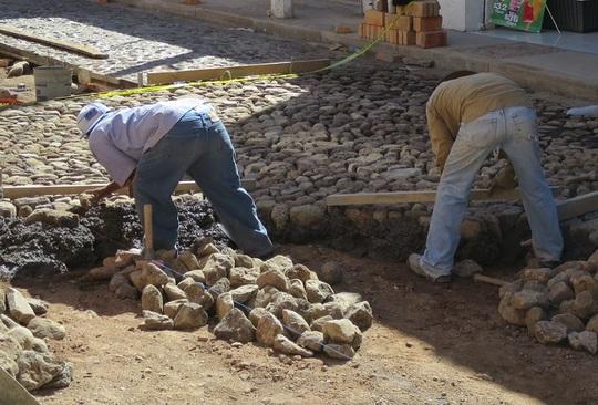Building a cobble stone road