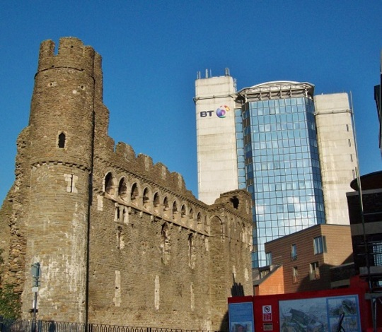 The old and the new ... Swansea castle and BT 'Tower'