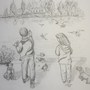 Feeding the birds. Latest drawing finished