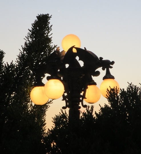 Close up of dragon light fixtures in the yard