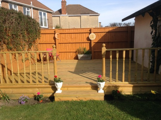 New decking at end of garden