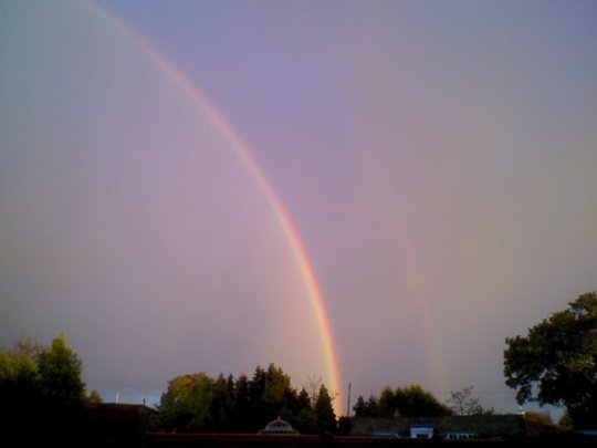Double rainbow viewed from our garden