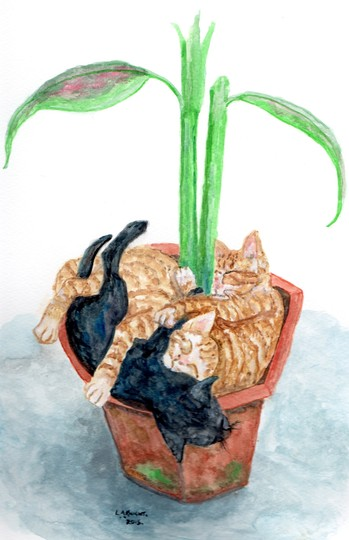 Kittens in the pot painting.