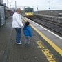 My Grandson Charlie Waiting for his first train trip  with his nana