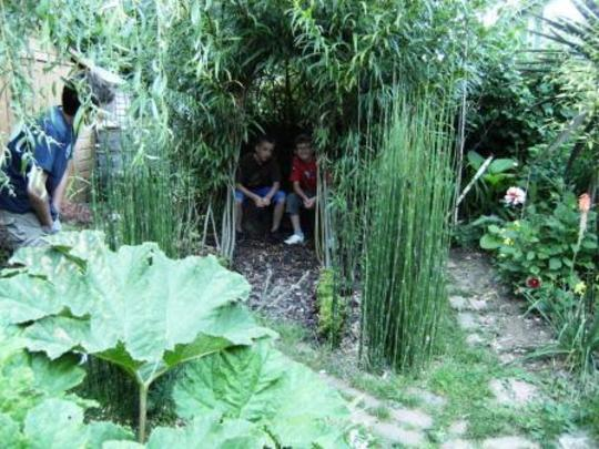 Boys in Willow dome.