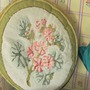 Needlepoint flower Pillow. Geranium