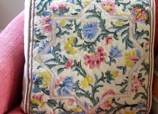 Flowers needle point cushion
