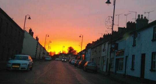 our wee village..I took this while driving home this evening...glad there wern't any police about!!
