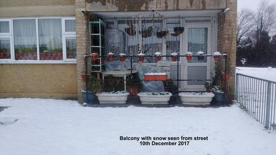 Balcony with snow seen from street 10th December 2017