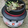 Snowman pot for the garden.
