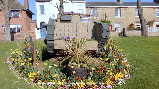 Replica of WWI tank (Front) near bus station Huntingdon 1st April 2019