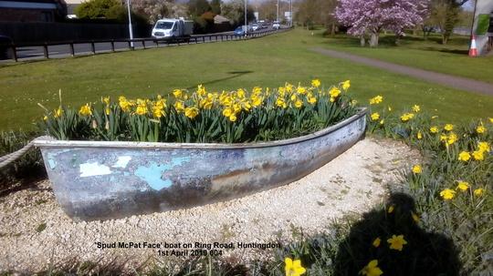 Spud McPat Face boat on Ring Road Huntingdon 1st April 2019 004