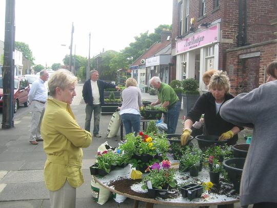 Community Basket Planting in Cleadon