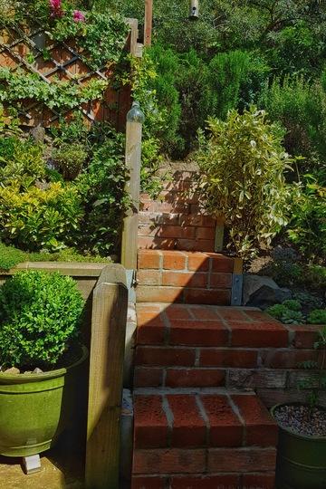 Rustic garden steps.