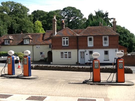 Petrol pumps in Thursley village