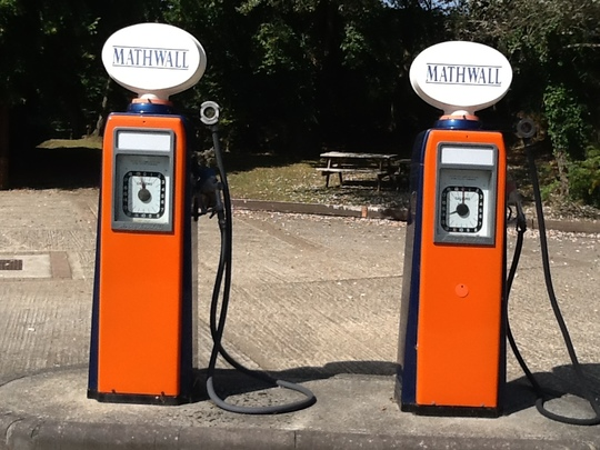 Old petrol pumps.
