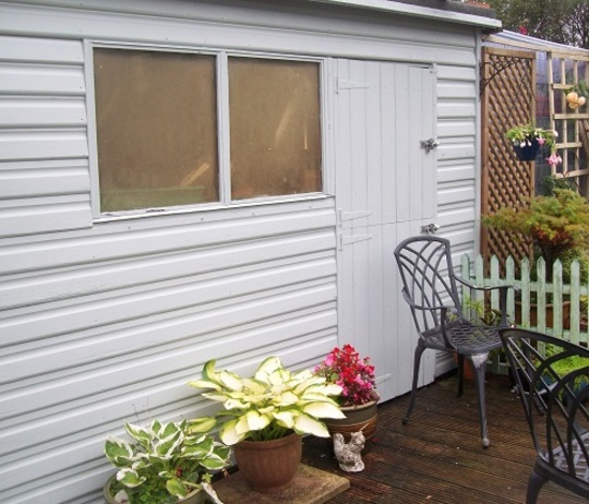 Newly painted and tidied shed ...