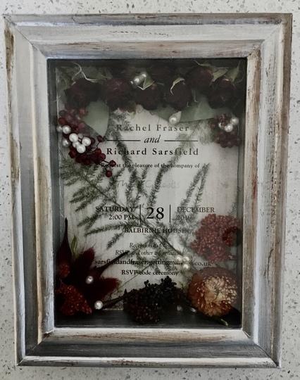 Close up of Bridal Bouquet Box Frame