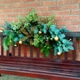 Closeup of front seat dressed with some foliage  for Xmas.Pittisporum,Pine and Bay.