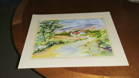 Water colour of a French farmhouse.