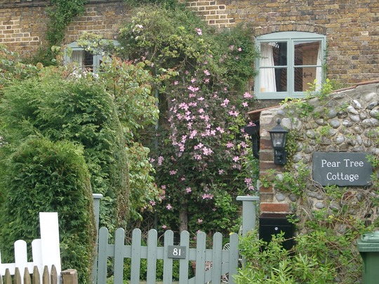 Pretty Blakeney cottage with clematis.