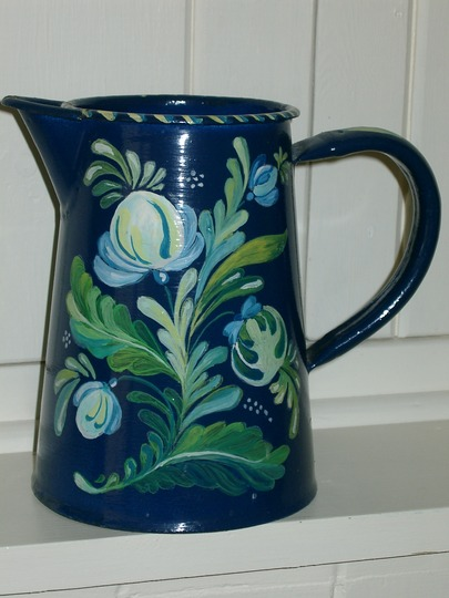 Victorian flower painted milk jug