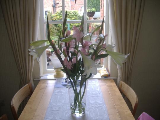 Lilies and gladioli