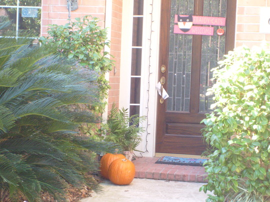 A newer house and pumpkin.
