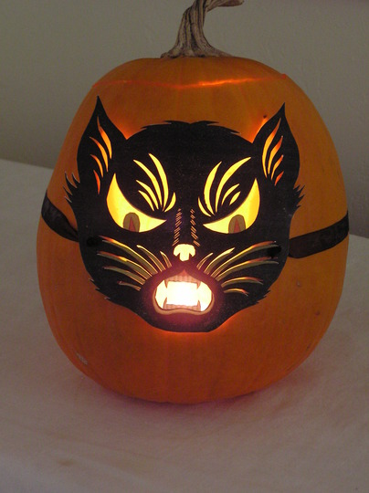 Cat mask pumpkin from last year