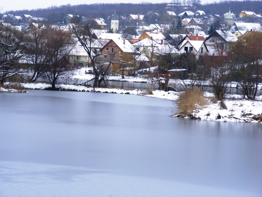 Across the frozen lake