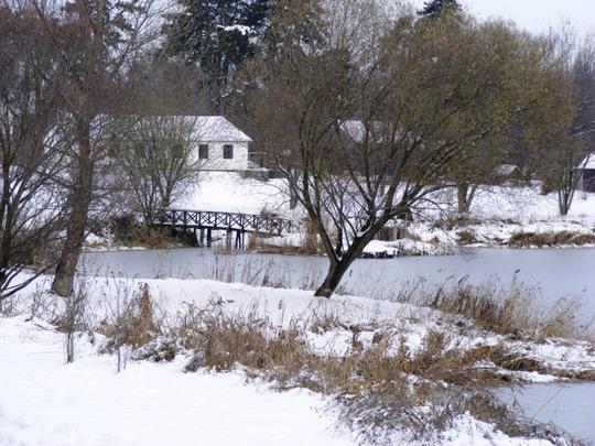 White house across the lake