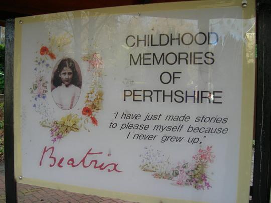 Beatrix Potter information board, Birnam. Dunkeld, Perthshire, Scotland.