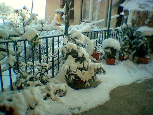 Snow on terrace. Hope we don't get any more, but it's still cold.