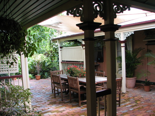 Looking over the courtyard garden from the kitchen