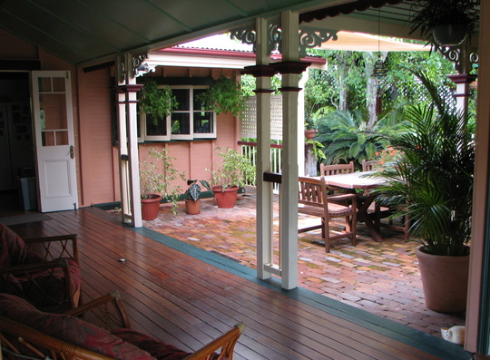 Looking over the courtyard from the other side of the back verandah