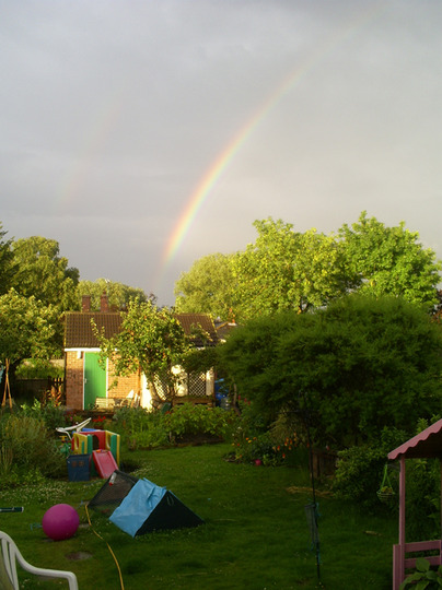 my garden, with a rainbow (Kniphofia caulescens (Red hot poker))