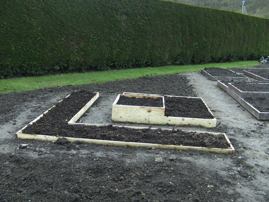Raised beds in creation of new veg area.