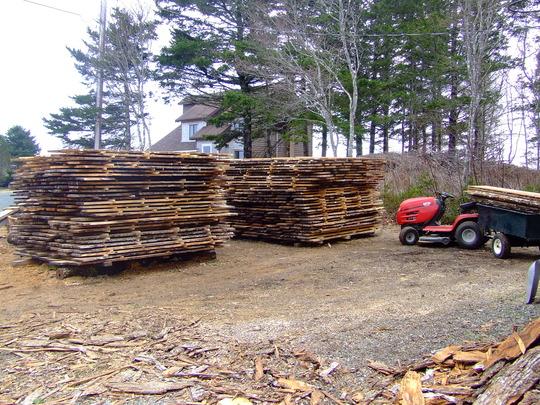 Lumber piles