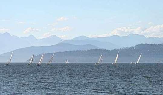 Sailboats & Mountain backdrop, Vancouver, BC