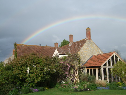 Rainbow over the house this evening.