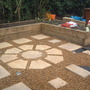The bottom of the garden patio almost complete