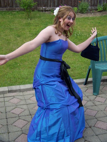 Hannah (in garden!) before leaving for grade 12 prom