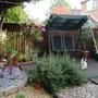 the raised decking bit of the garden