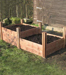 Twin Wooden Raised Beds