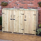 Triple Wooden Wheelie Bin Tidy