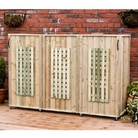 Triple Bin Lattice Three Sided Wheelie Bin Screen