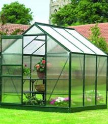 Gardman Green-Framed Aluminium Greenhouse 6'x6'