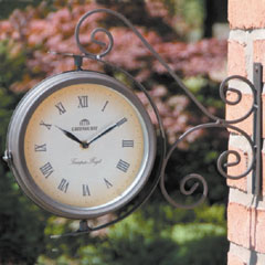 Ornate Swivel Clock and Thermometer