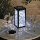 Frosted Scroll Solar Lantern Pair